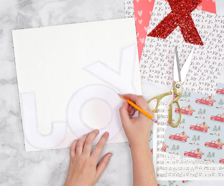 tracing letters onto tinsel glitter paper