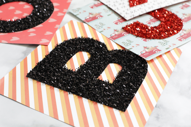 diy tinsel glitter holiday sign