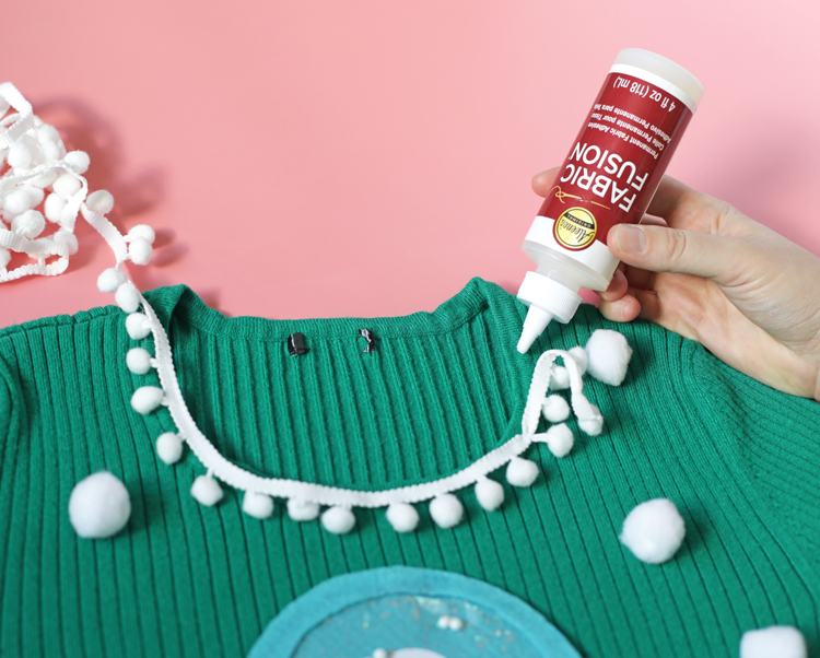 pom pom ugly christmas sweater DIY