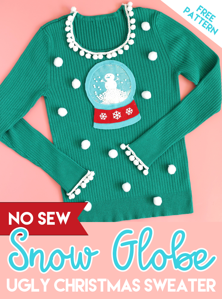 diy ugly christmas sweater with a working snowglobe