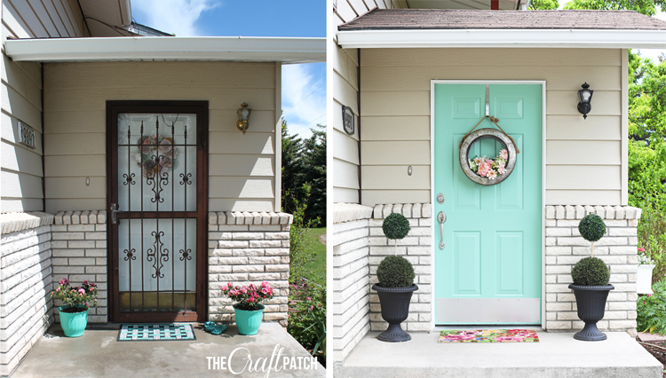 mint green painted front door