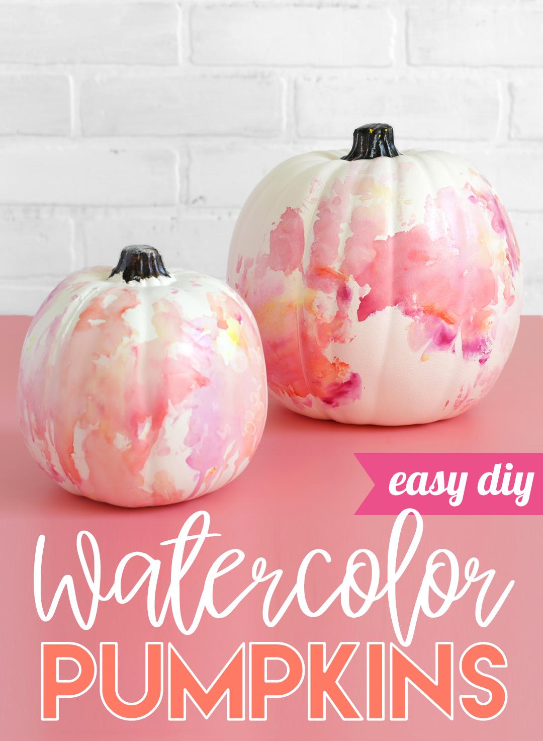 easy watercolor painted pumpkins