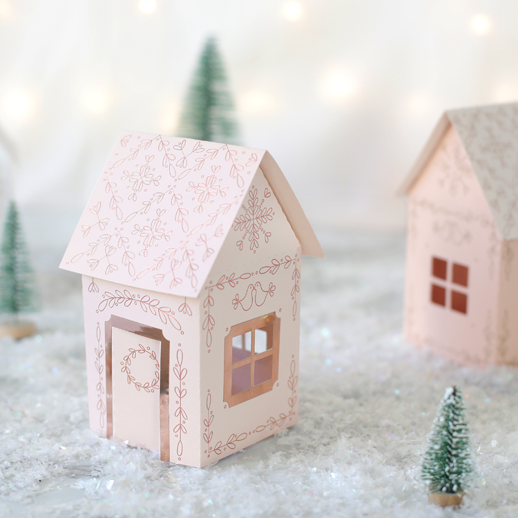 miniature paper christmas houses
