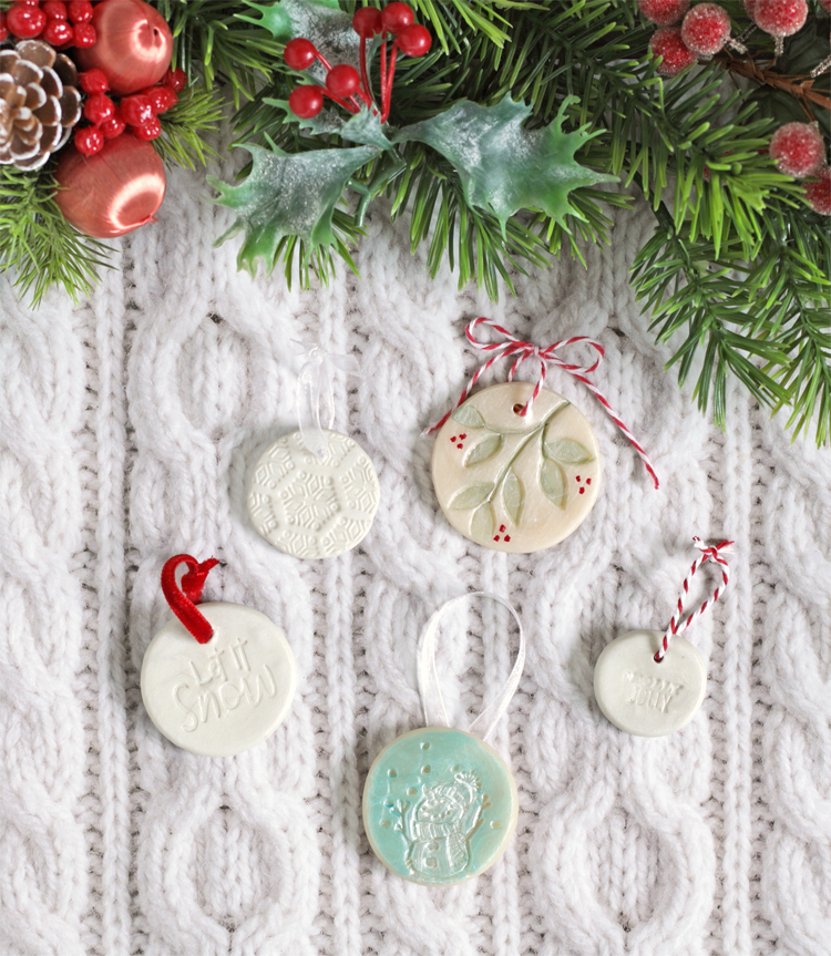 stamped clay christmas ornaments
