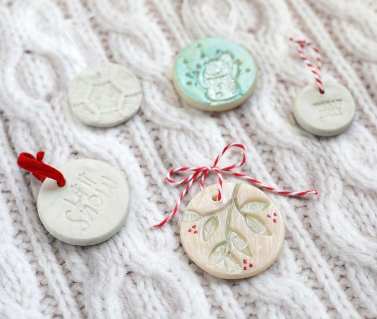 how to stamp clay ornaments