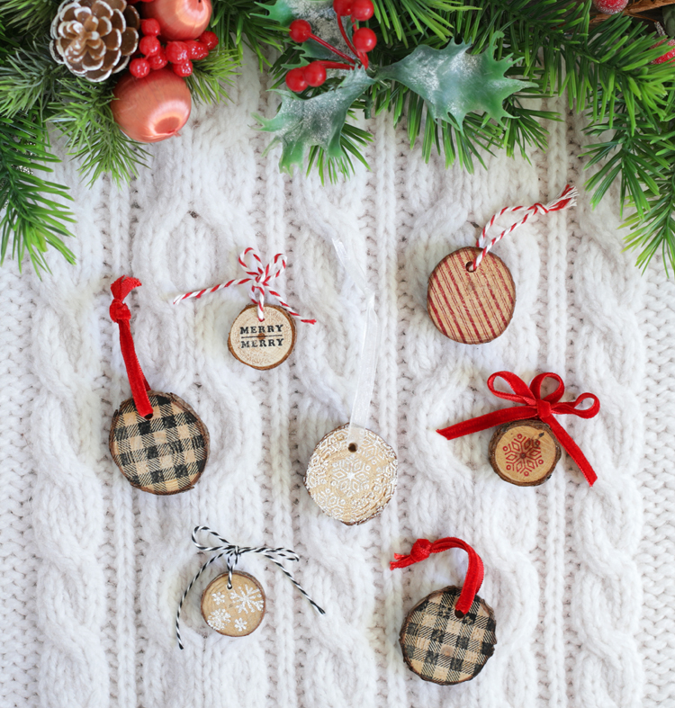 stamped wood slice christmas ornaments
