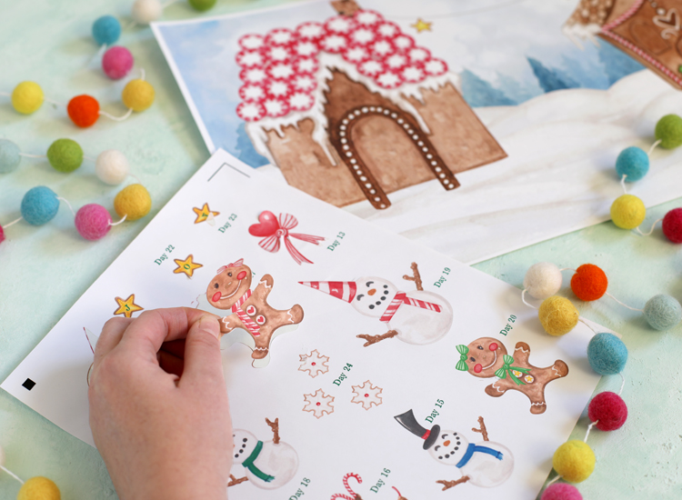 diy sticker christmas advent calendar