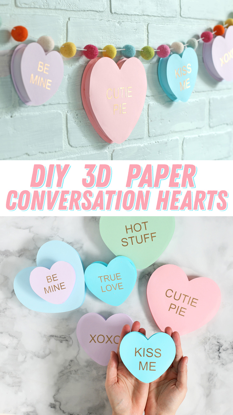 diy 3d paper conversation hearts