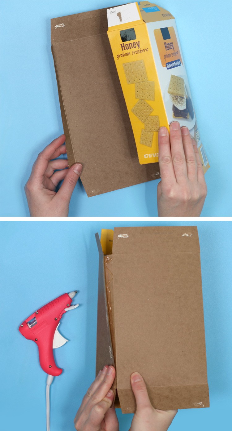 how to flip a cardboard food box inside out