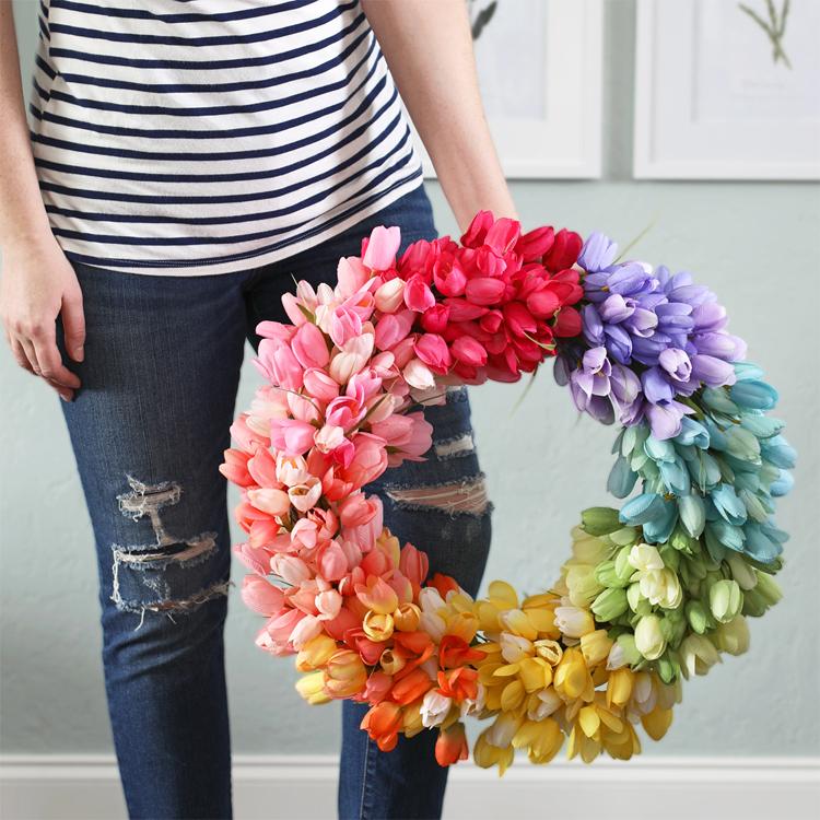 rainbow tulip wreath