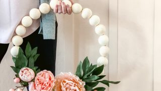 Wood Bead Floral Wreath