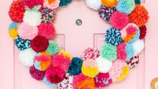 Colorful Pom-Pom Wreath