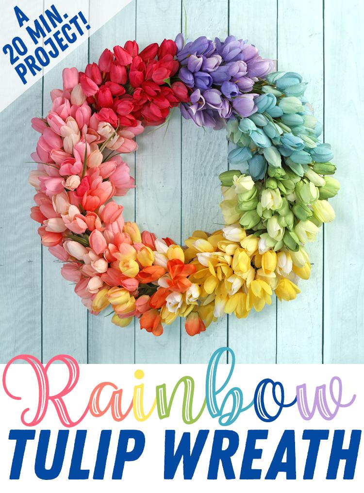 rainbow tulip wreath tutorial