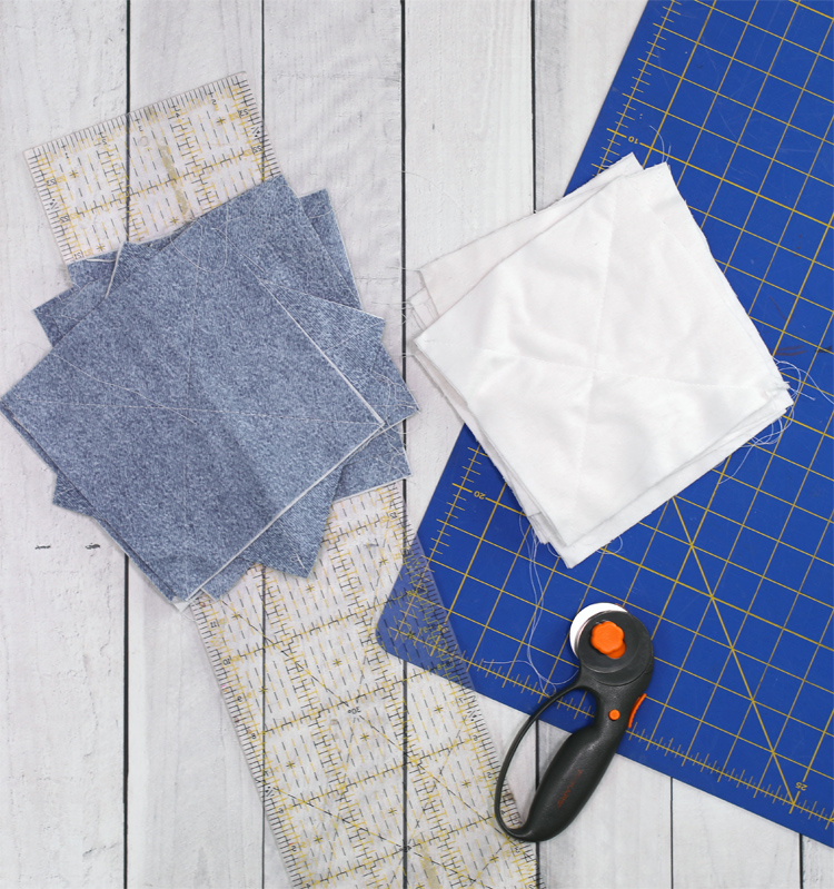 cut out the flannel fabric squares
