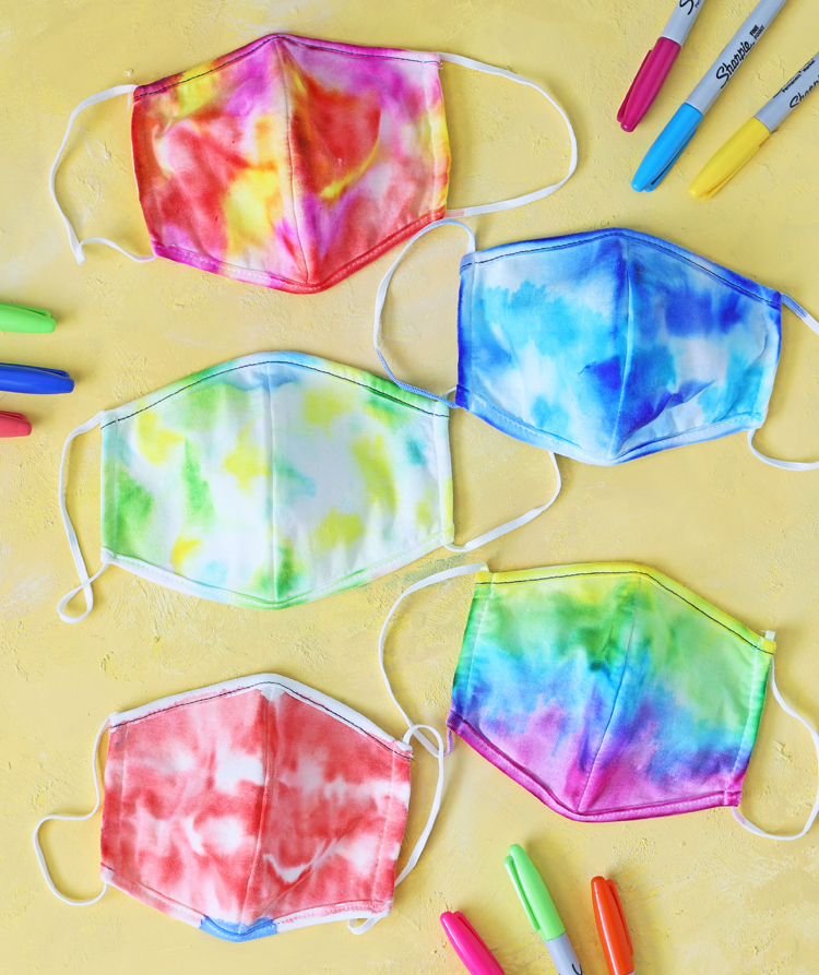 sharpie tie dye face masks