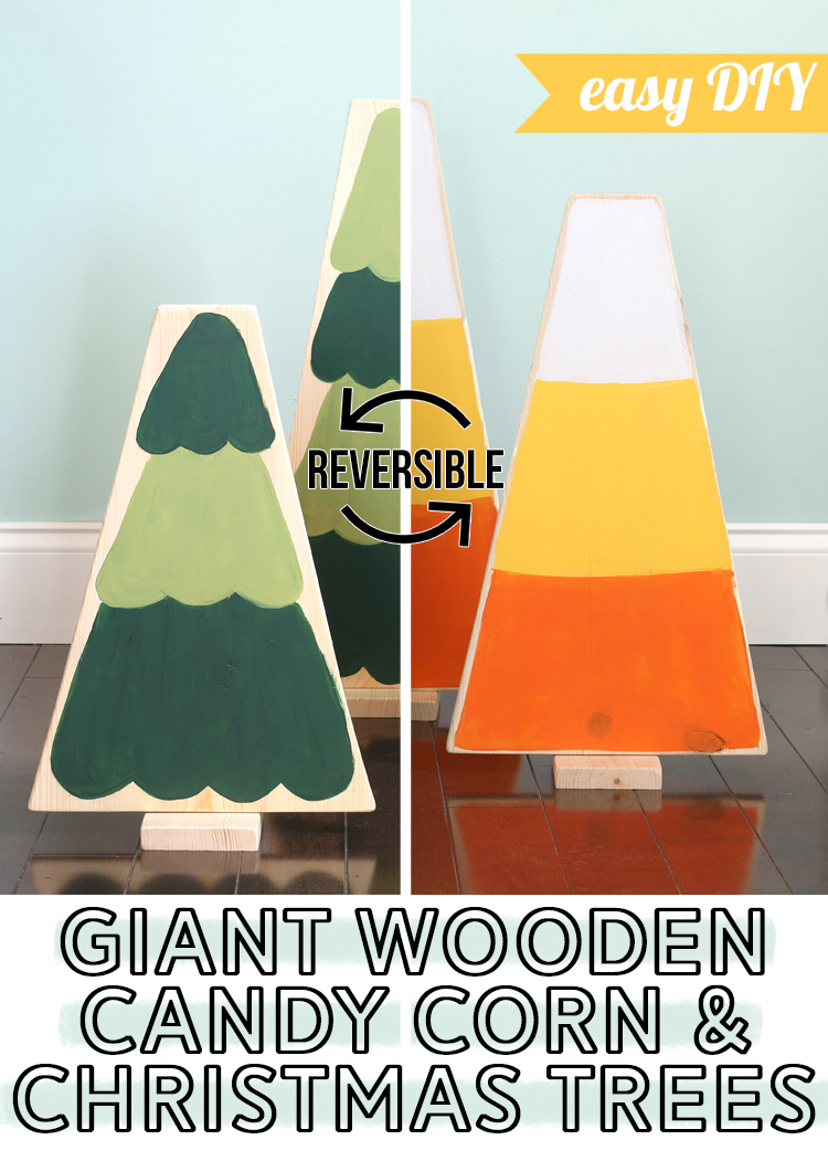 giant wooden candy corn and christmas trees