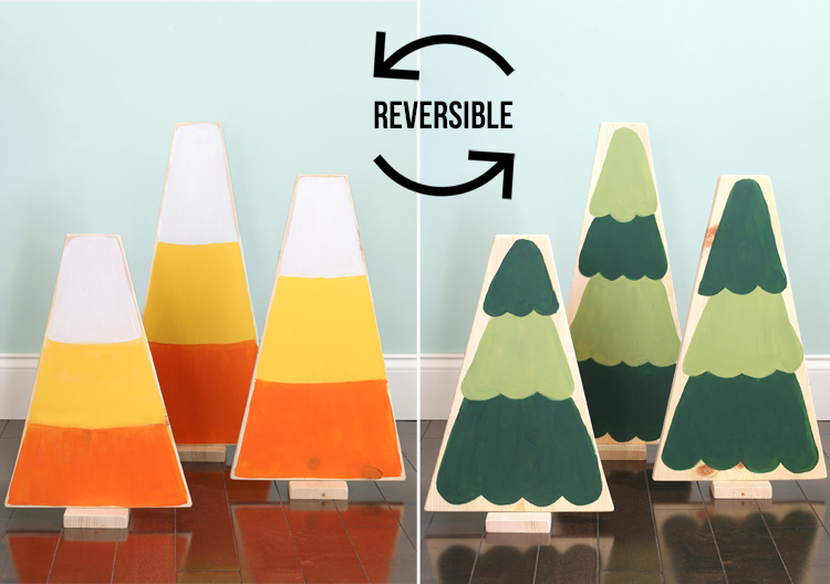reversible holiday craft candy corn and christmas trees