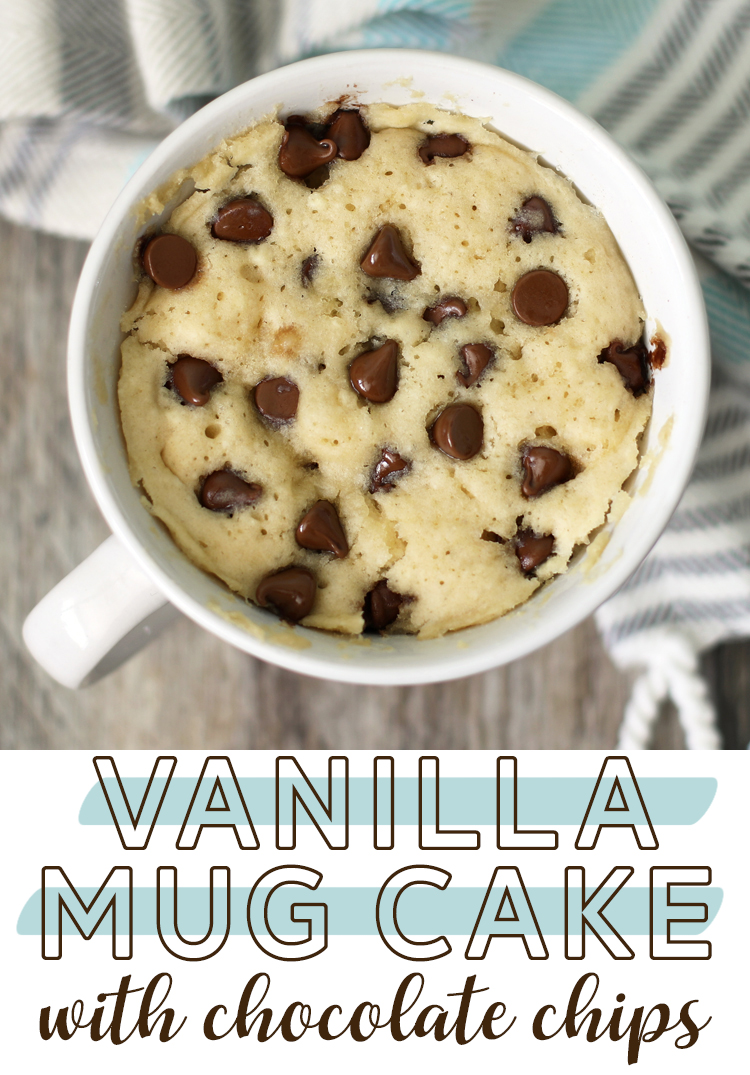 vanilla mug cake with chocolate chips