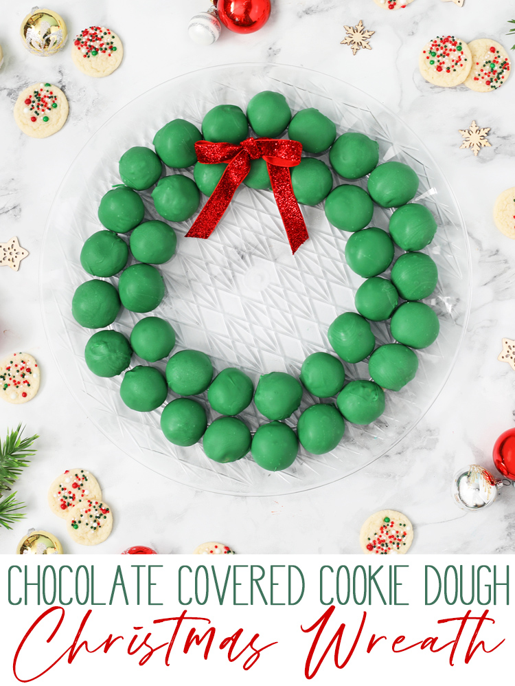 chocolate covered cookie dough wreath christmas dessert