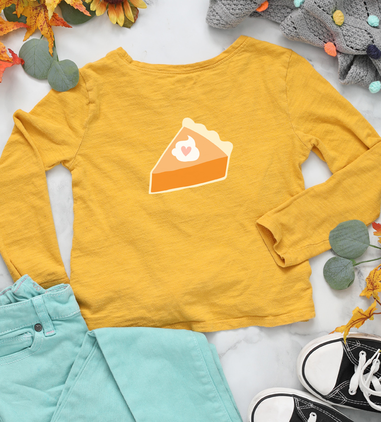pumpkin pie DIY thanksgiving shirt