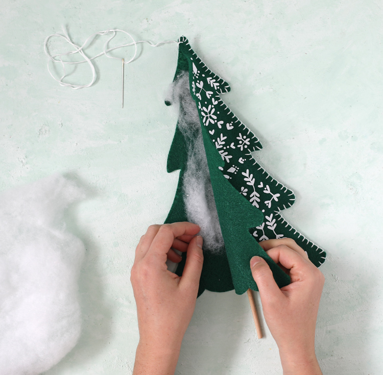 add stuffing and stitch trees closed