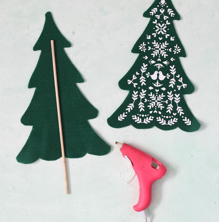 add dowel base to felt trees