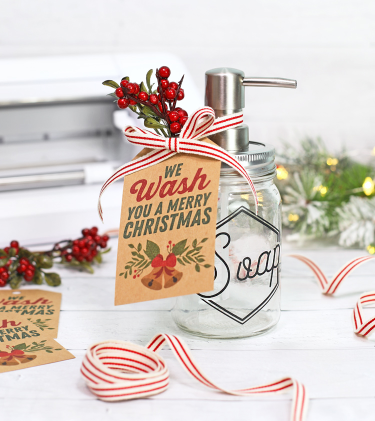 mason jar soap dispenser DIY with printable christmas tag