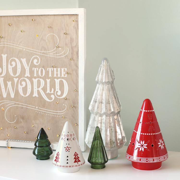 glass and ceramic christmas trees
