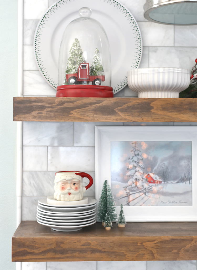 open shelves in kitchen at christmas