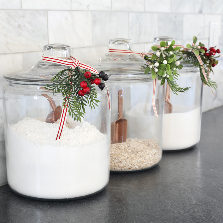 christmas glass canisters
