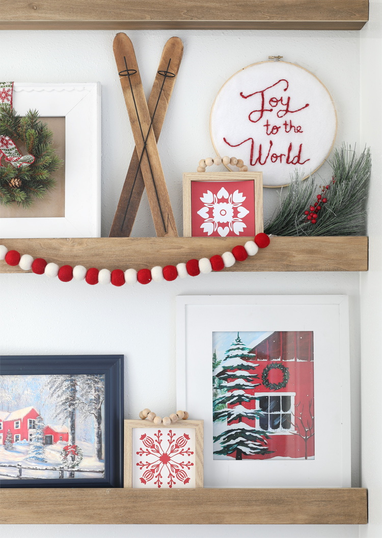 photo ledges decorated for christmas