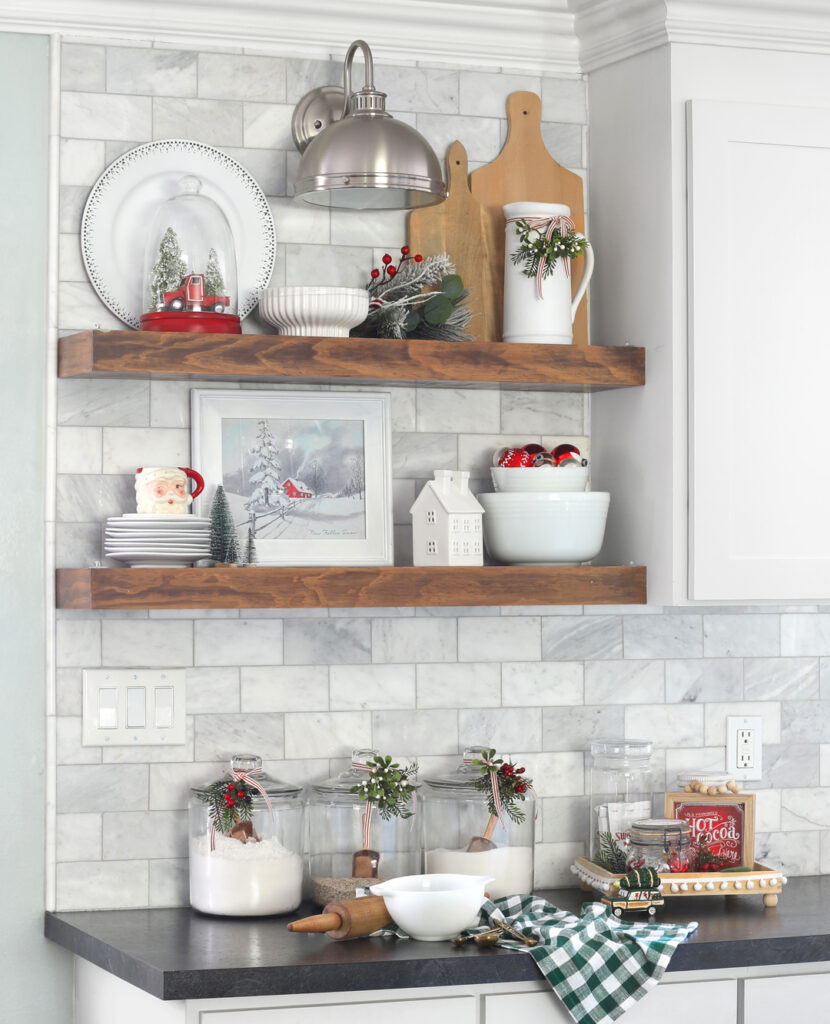 kitchen with open shelves at christmas