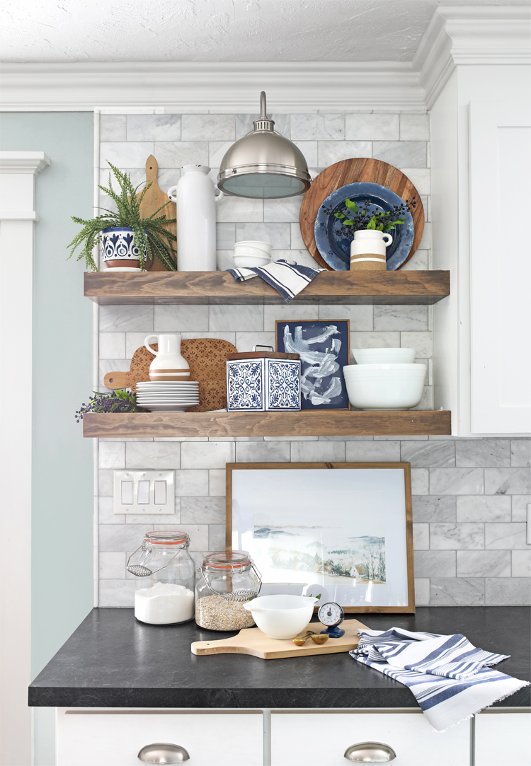 how to decorate open shelves in the kitchen