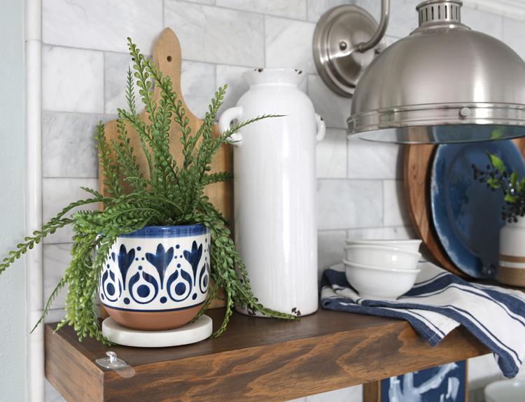 shelf styling add greenery