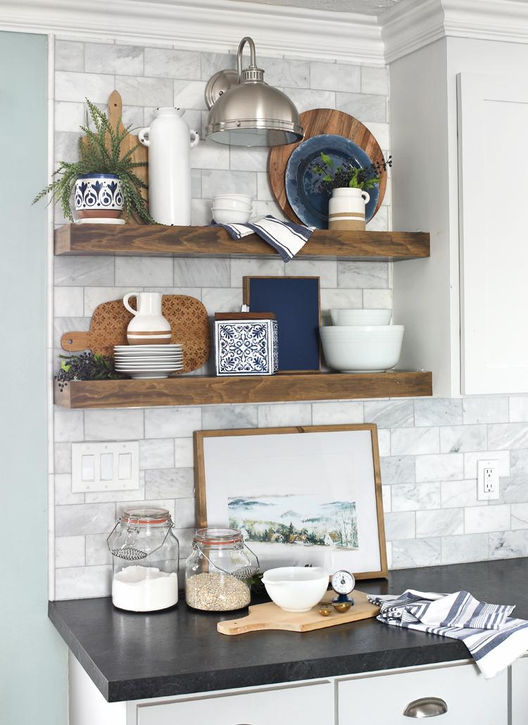 floating wood kitchen shelves