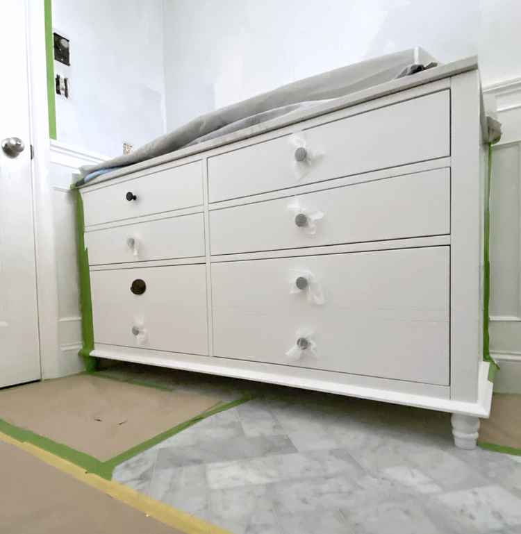 bathroom vanity with all drawers