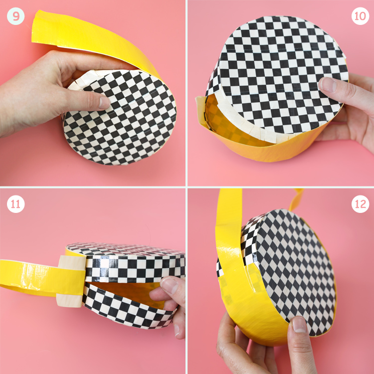 round purse made of duck tape