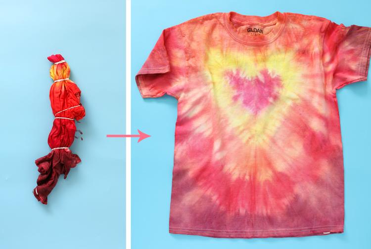 heart tie dye pattern