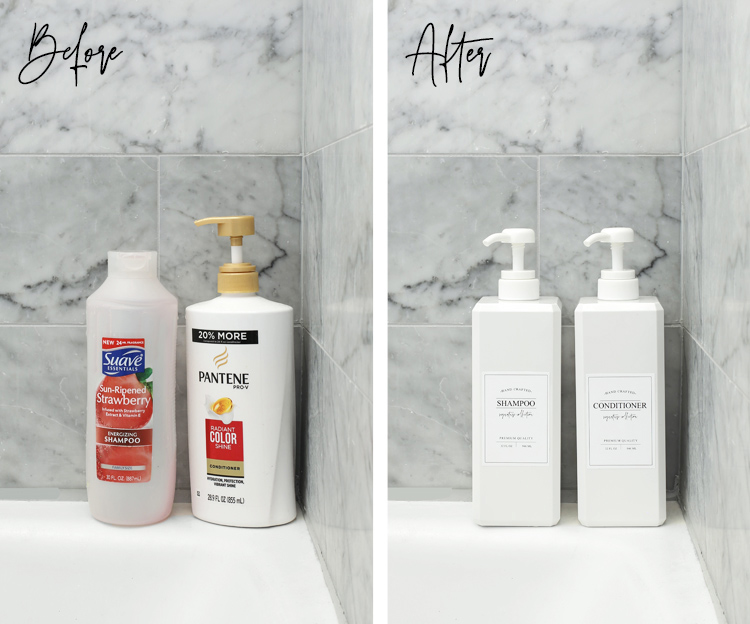 pretty shampoo bottles with free printable labels