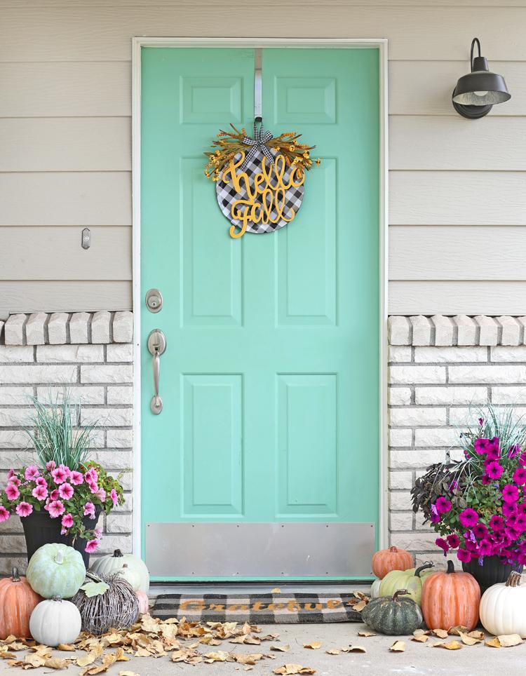 fall door hanging DIY fall porch