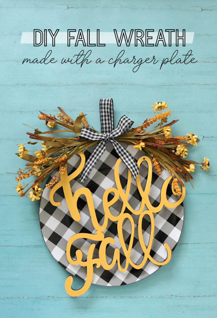 DIY Fall Wreath made with a cute charger plate